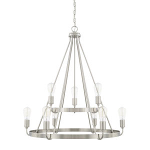 HomePlace Tanner Brushed Nickel 31-Inch Nine-Light Chandelier
