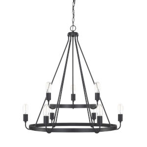 HomePlace Tanner Matte Black 31-Inch Nine-Light Chandelier