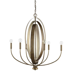 Dahlia Silver and Bronze Six-Light Chandelier