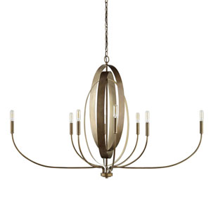 Dahlia Silver and Bronze Eight-Light Chandelier