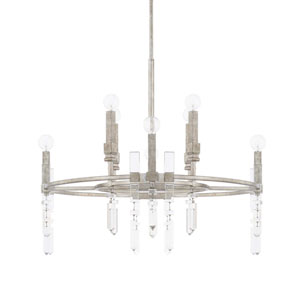 Drake Antique Silver Eight-Light Chandelier