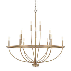 HomePlace Greyson Aged Brass 40-Inch 12-Light Chandelier