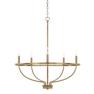 HomePlace Greyson Aged Brass 29-Inch Five-Light Chandelier