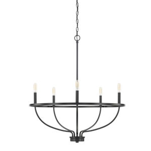 HomePlace Greyson Matte Black 29-Inch Five-Light Chandelier