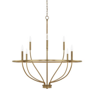HomePlace Greyson Aged Brass 34-Inch Eight-Light Chandelier