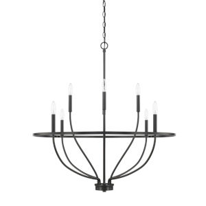 HomePlace Greyson Matte Black 34-Inch Eight-Light Chandelier