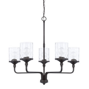 HomePlace Colton Matte Black 28-Inch Five-Light Chandelier