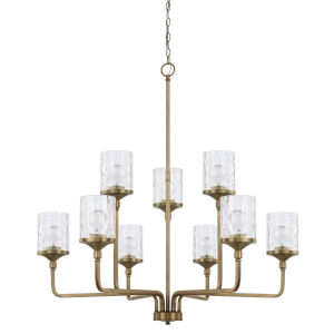 HomePlace Colton Aged Brass 38-Inch Nine-Light Chandelier