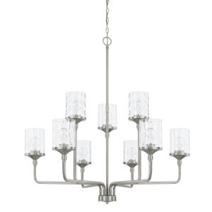 HomePlace Colton Brushed Nickel 38-Inch Nine-Light Chandelier