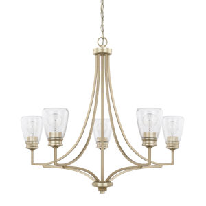 HomePlace Newbury Winter Gold 32-Inch Five-Light Chandelier