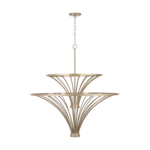 Fontaine Aged Brass Painted Nine-Light Chandelier