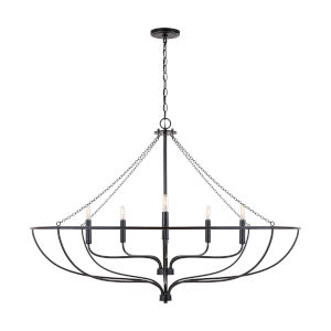Nira Matte Black Six-Light Chandelier