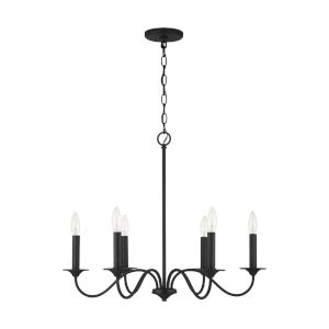Vincent Black Iron Six-Light Chandelier