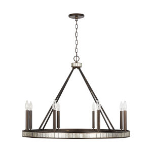 Chaucer Buffed Bronze Eight-Light Chandelier