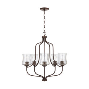 HomePlace Reeves Bronze Five-Light Chandelier with Clear Seeded Glass