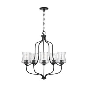 HomePlace Reeves Matte Black Five-Light Chandelier with Clear Seeded Glass