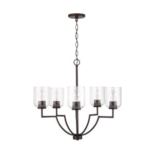 HomePlace Carter Bronze Five-Light Chandelier with Clear Seeded Glass