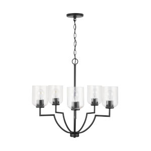 HomePlace Carter Matte Black Five-Light Chandelier with Clear Seeded Glass