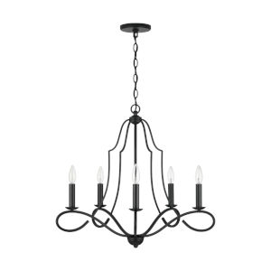 HomePlace Cameron Matte Black Five-Light Chandelier