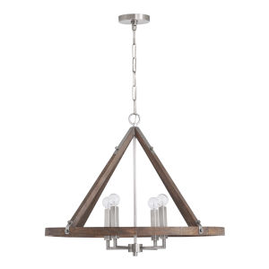 Hugo Grey Wash and Matte Nickel Four-Light Chandelier