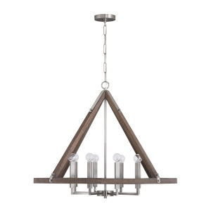 Hugo Grey Wash and Matte Nickel Eight-Light Chandelier