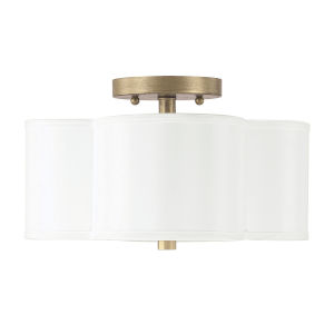 Quinn Brushed Gold Two-Light Semi-Flush