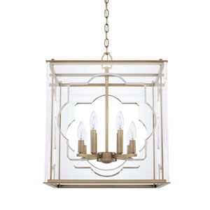 Aged Brass Eight-Light Pendant
