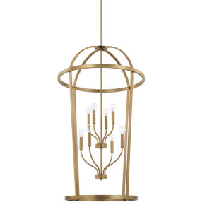 HomePlace Greyson Aged Brass 25-Inch Eight-Light Pendant