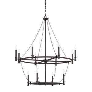 Lancaster Black Iron 12-Light Chandelier