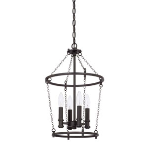 Lancaster Black Iron 11-Inch Four-Light Pendant
