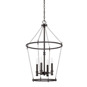 Lancaster Black Iron 17-Inch Four-Light Pendant