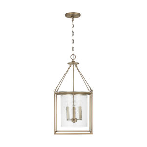 Aged Brass Four-Light Pendant with Clear Seeded Glass