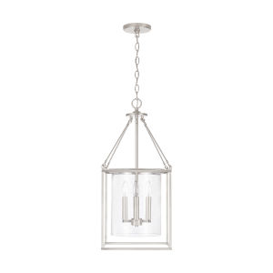 Brushed Nickel Four-Light Pendant with Clear Seeded Glass