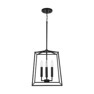 Thea Matte Black Four-Light Foyer Pendant