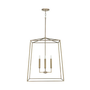 Thea Aged Brass 78-Inch Four-Light Foyer Pendant