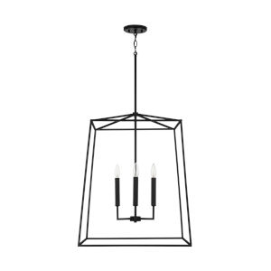 Thea Matte Black 78-Inch Four-Light Foyer Pendant