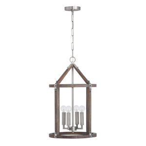 Hugo Grey Wash and Matte Nickel Four-Light Foyer Pendant