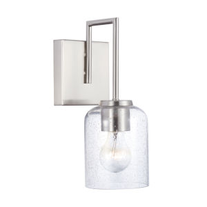 HomePlace Carter Brushed Nickel Sconce with Clear Seeded Glass