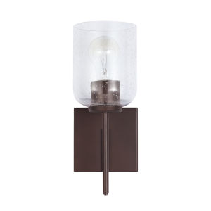 HomePlace Carter Bronze Sconce with Clear Seeded Glass