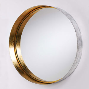 Silver and Gold Leaf Round Wall Mirror