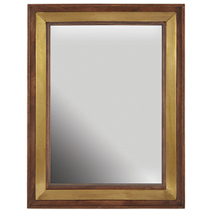 Wood and Brass 30-Inch Mirror