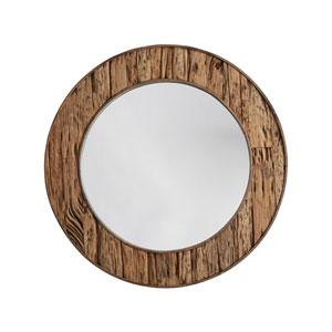 Reclaimed Railroad Ties 34 x 34 Inch Round Decorative Mirror