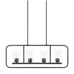 HomePlace Tanner Matte Black 32-Inch Four-Light Pendant