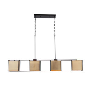 Paxton Aged Brass and Black Four-Light Island Pendant