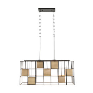 Paxton Aged Brass and Black Seven-Light Island Pendant