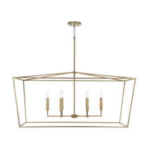 Thea Aged Brass Six-Light Island Pendant