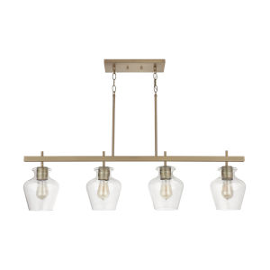 Danes Aged Brass Four-Light Island Pendant with Clear Glass