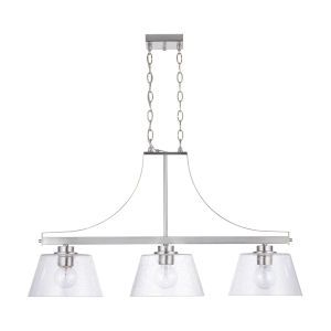 HomePlace Brushed Nickel 36-Inch Three-Light Island Pendant with Clear Seeded Glass