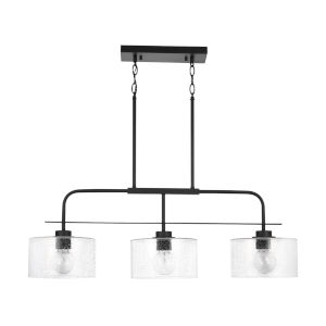 HomePlace Matte Black Three-Light Island Pendant with Clear Seeded Glass
