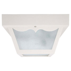White 10-Inch Two Light Outdoor Flush Mount with Textured Glass
